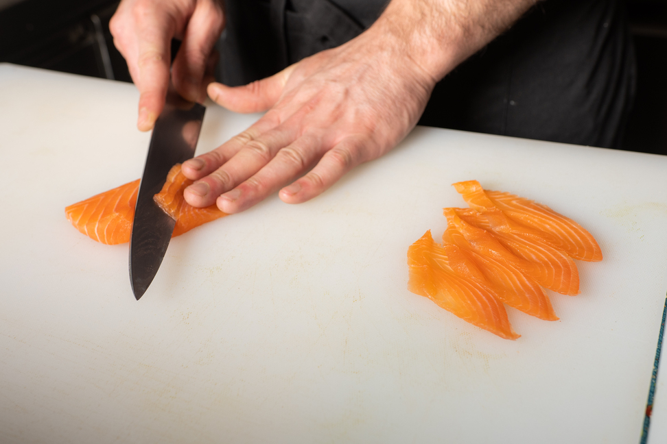 salmon slices in sushi- sushi in Chania